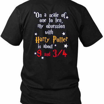 Harry Potter Obsession Train 2 Sided Black Mens T Shirt
