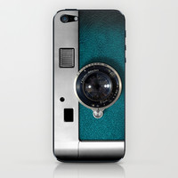 Classic retro Blue Teal Leather silver Germany vintage camera iPhone 4 4s 5 5c, ipod, ipad case iPhone & iPod Skin by Three Second