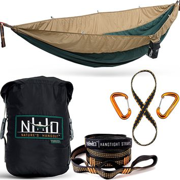 The HangEasy Portable Camping Hammock - Free Premium Adjustable Hanging Straps & Ultralight Carabiners.