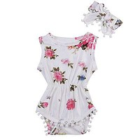 Newborn Infant Baby Clothes Girls Sleeveless Floral Romper Jumpsuit Headband 2pcs 2017 New Baby Girl Rompers Cotton Baby Onesuit
