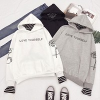 """Love Yourself"" Faux Two Layered Hoodie"