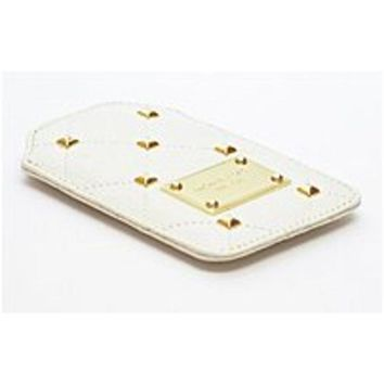 NOB Michael Kors 32H2MQUL1L-WHT Quilted Leather iPhone Case - Vanilla