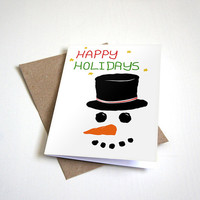 Frosty the Snowman Holiday Greeting Card - Humour Card Happy Holidays and Seasons Greetings-  5 x 7