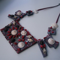 Statement necklace from polymer clay + seashells + coffee