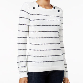 Tommy Hilfiger Cooper Embellished Striped Sweater - Sweaters - Women - Macy's