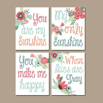 FLOWERS You Are My Sunshine Wall Art, Sunshine CANVAS or Prints, Baby Girl Nursery Decor, Song Rhyme Quote, Girl Bedroom Pictures Set of 4
