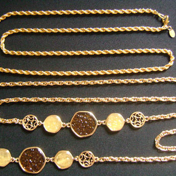 2Lot Vintage Sarah COV Coventry & Park Lane Unisex Jewelry Women Men Gold Tone Twisted Rope Link Long Chain Lucite Necklaces Nice Collection