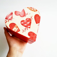 Red trinket heart box decoupage valentines keepsake box small wooden box