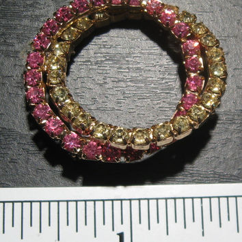 Vintage Costume Jewelry Brooch with Rhinestones or Synthetic Stones