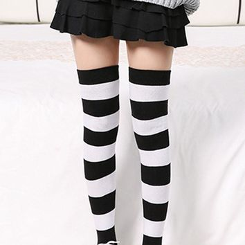 Women Slim Sexy Stockings Women Girl Winter Over Knee Leg Warmer Striped Soft Cotton Stockings tight Meias De Inverno