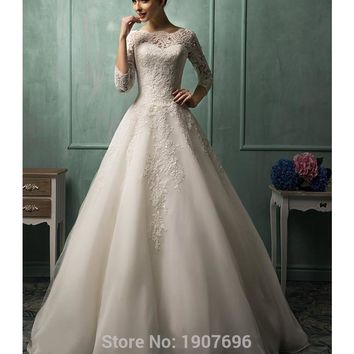 Vintage Three Quarter Sleeves Beaded Lace A Line Wedding Dresses 2016 Ivory Tulle Plus Size Sheer Amelia Sposa Bridal Gowns