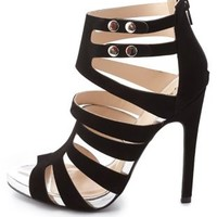Qupid Strappy Caged Heels by Charlotte Russe