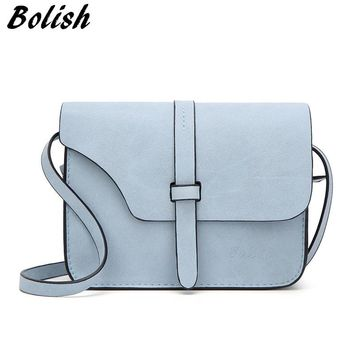 Bolish Nubuck Leather Women Bag Fashion Single Strap Crossbody Bag Candy Color Mini Phone Bag