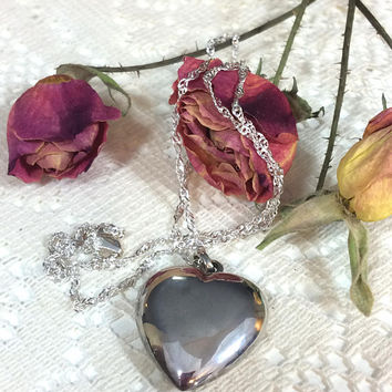 """Sterling Puffy Heart Pendant Necklace, Lacy 925 18"""" Italian Chain, Valentine's Day Gift, Friendship Love, Vintage Small Heart Jewelry"""