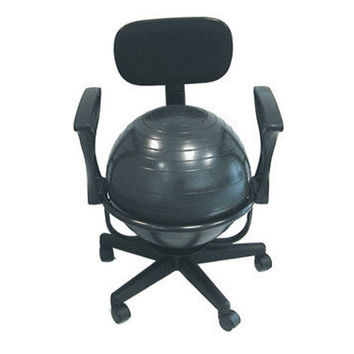 Adjustable Fitness Ball Office Chair with Arms in Black