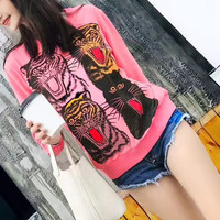 """GUCCI"" Fashion Tiger Head Pattern Print Women Casual Long Sleeve Sweater Tops"