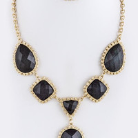 Black/Gold Statement Necklace Set