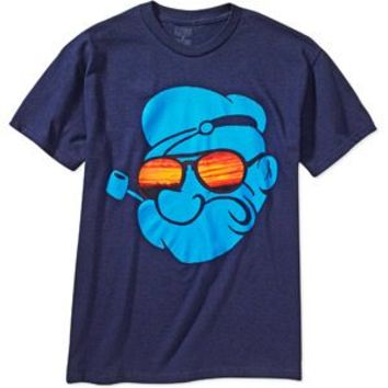 Popeye the Sailor Man Shades Face Navy Adult T-shirt