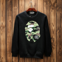 Aape Print Unisex Couples Round Neck Long Sleeve Sweater Pullover Hoodies