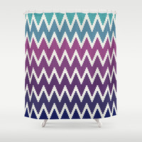 Ombre Cubed Chevron Shower Curtain by Bohemian Gypsy Jane   Society6