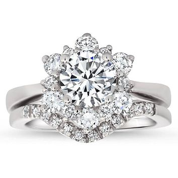 Snowflake Style Engagement Ring Plain Band Diamond Halo Matching Diamond Wedding Band - Snowflake II Set