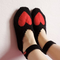 Valentine's Day Woman Slippers Black and Red, Hand Knit Turkish Slippers, Turkish Socks, Love Knitted Slippers