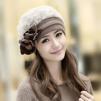 2017 New Fashion Winter Fashion Two Flower Rabbit Fur Hat Winter Hat For Women/Girl Free Shipping