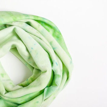 Infinity Hand Dyed Scarf Versatile Cowl Loop Lime by frenchfelt
