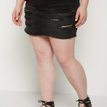 Plus Black Vintage Ripped Jean Skirt | Plus Mini Skirts | rue21
