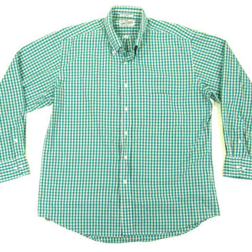 Vintage Green and White Gingham Shirt - Plaid Checkered Oxford Button Down Preppy Menswear - Men's Size 17-34-35 Extra Large XL