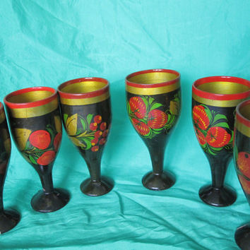 Vintage Handmade Russian Folk Art - Khokhloma old set of wooden hand painted stemmed glasses, cups made in Russia