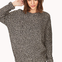 FOREVER 21 Easy Marled Sweater Black/Light Pink