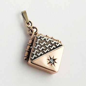 Square Rose Gold and Diamond Antique Locket