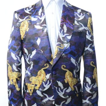 Allover Printed Neoprene Tuxedo Jacket - Purple