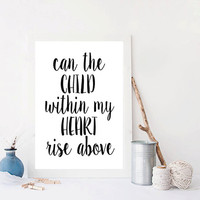 "Stevie Nicks  Landslide ""Can The Child Within My Heart Rise Above"" Lyrics art Kitchen Wall Decor Music poster Typography art Inspirational"