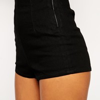 ASOS PETITE Denim Dolphin Hem Short in Clean Black - Black