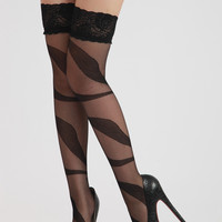 Black Floral Lace Banded Over-knee Stockings