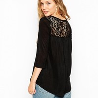 Only Loose Fit Slub 3/4 Sleeve Top With Lace Back