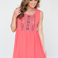 Sleeveless Embroidered Tribal Dress - Coral