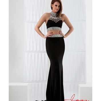 Preorder - Jasz Couture 5743 Black Halter Two Piece Embellished Long Dress 2016 Prom Dresses