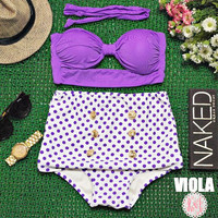 Viola - Retro Vintage Pin Up Handmade Purple White Polka Dot Cut Out Bandeau High Waist Bikini Swimsuit Swimwear