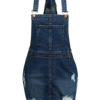 LE3NO Womens Vintage Distressed Frayed Hem Blue Denim Overall Skirt with Pockets