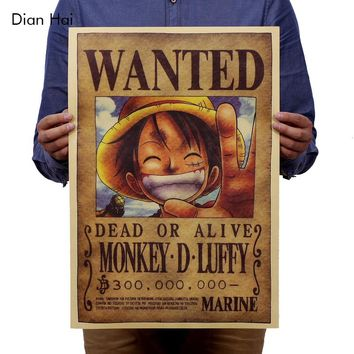Home Decor Wall Stickers Vintage Paper Retro Anime Poster Luffy Wanted 51x35.5cm One Piece Posters Kid Cudi Poster Vin