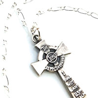 Small Cross Necklace, First Communion Gift, 23rd Psalm, Sterling Silver Cross with Verse, Religious Jewelry, Baptism, Cross Pendant