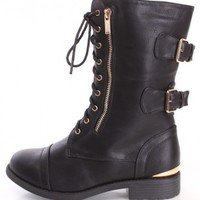 Black Lace Up Combat Boots Faux Leather