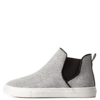 Gray Multi Qupid Crackled High-Top Slip-On Sneakers