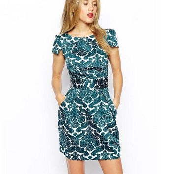 Green Floral Print A-Line Dress With Pocket