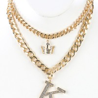 Clear Pave Crystal Stone Letter K Pendant Necklace