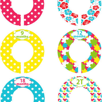 Custom Baby Closet Dividers Girl Turquoise Red Yellow Flowers Nursery Closet Dividers Baby Shower Gift Baby Clothes Organizers Baby Nursery