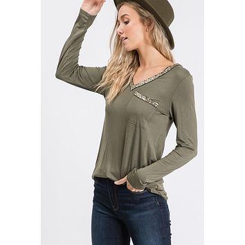 All that Glitters Olive Top
